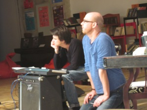 Sanjar and Tyler (L and R)begin layering in the music for Dance On Bones.